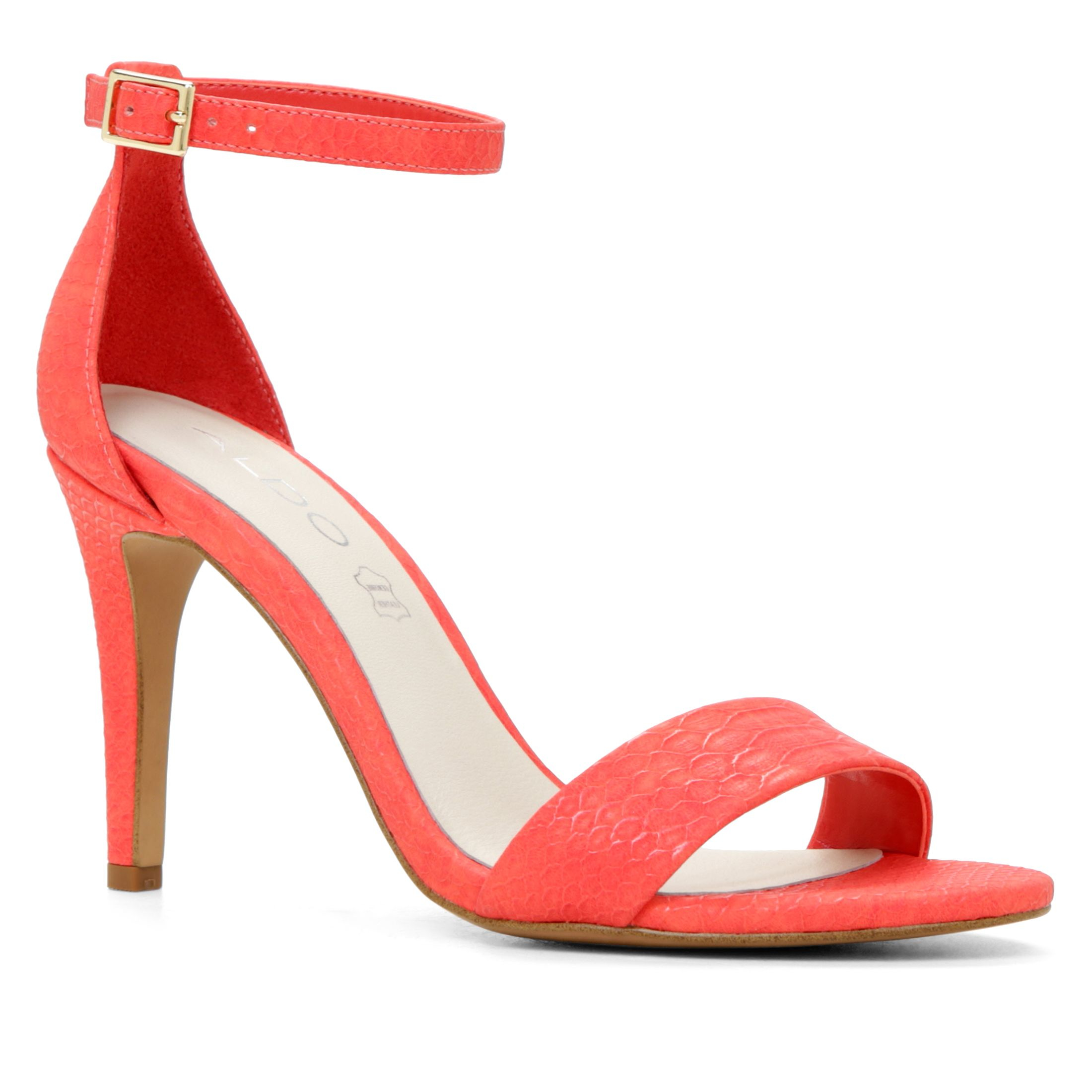 Red Ankle Strap Heel Sandals