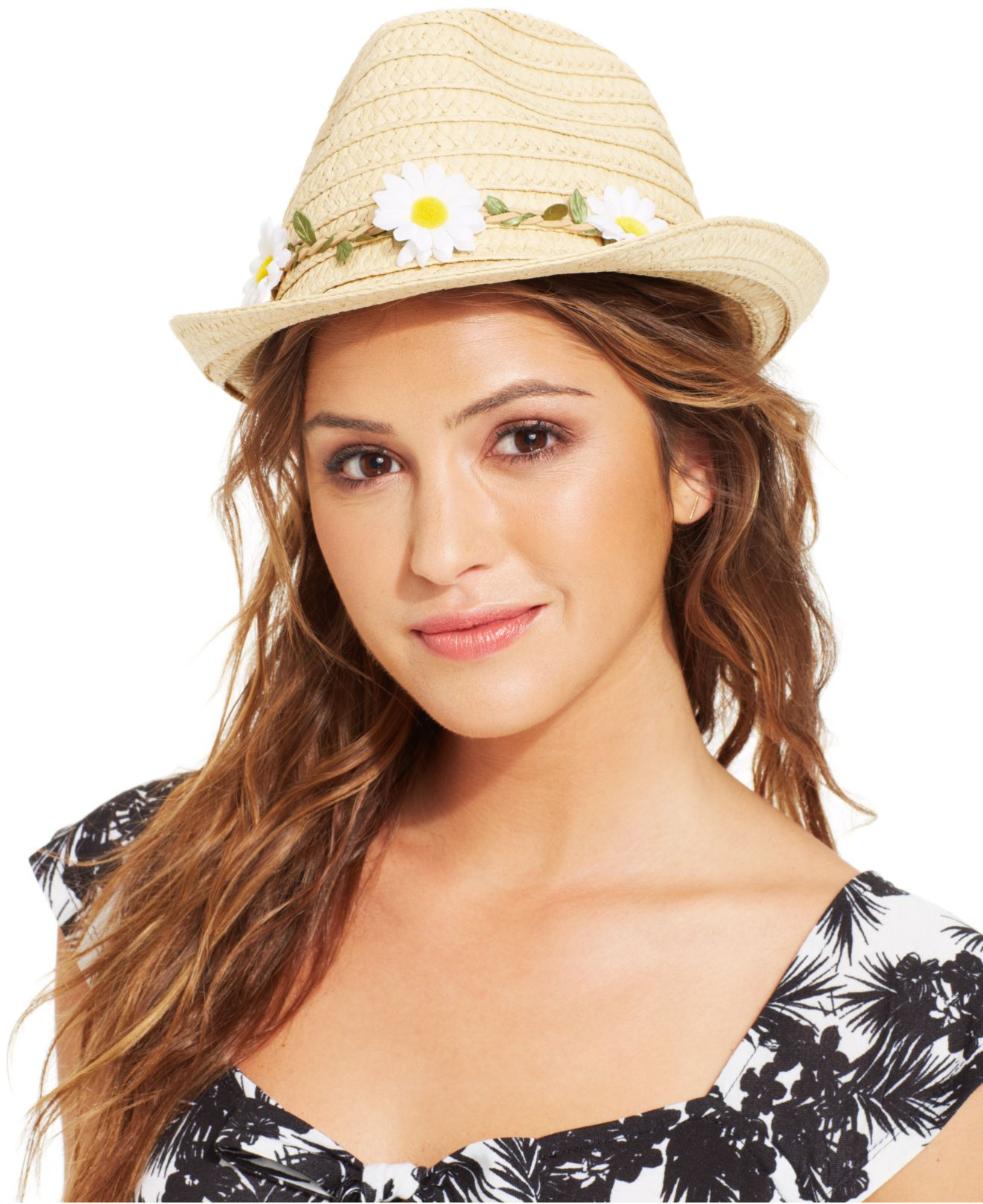 Lyst Collection Xiix Flower Headband Fedora In White
