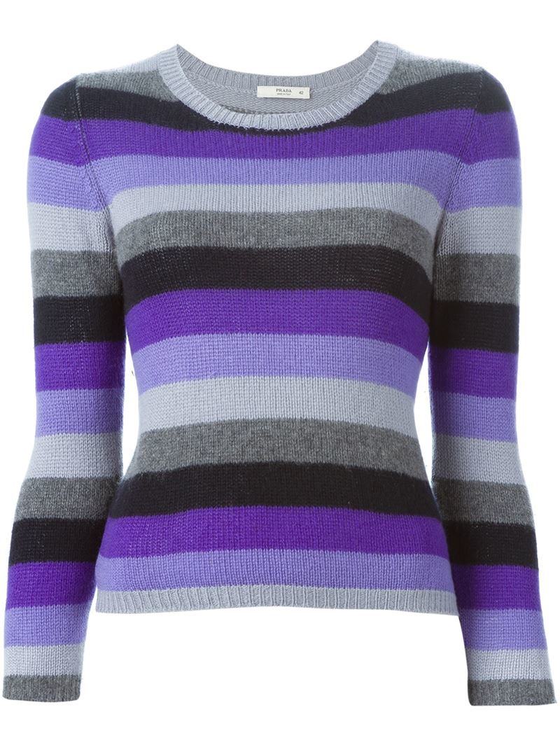 Prada Striped Sweater in Pink | Lyst