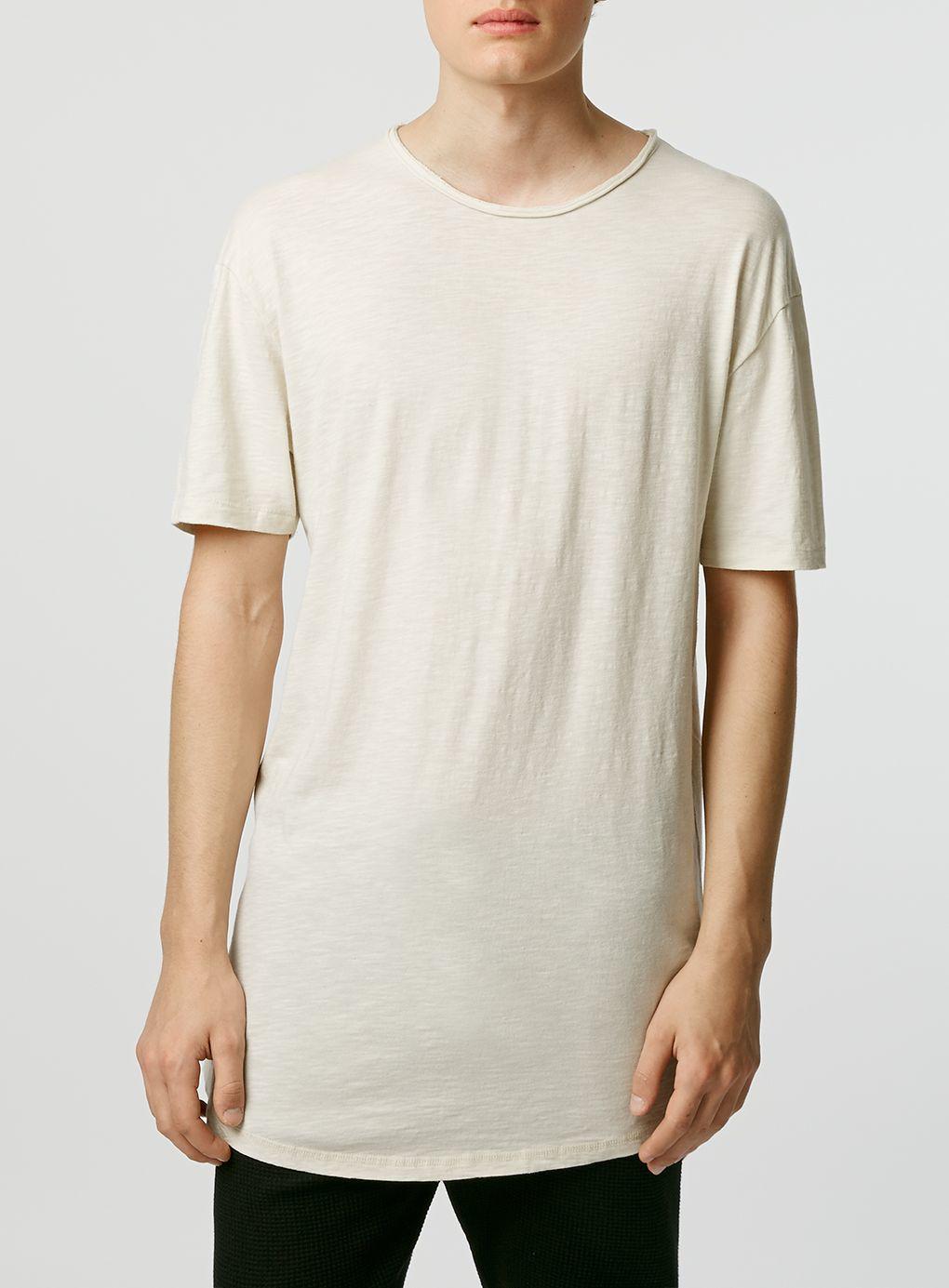 Topman short sleeve slubby long line t shirt in natural for Long line short sleeve t shirt