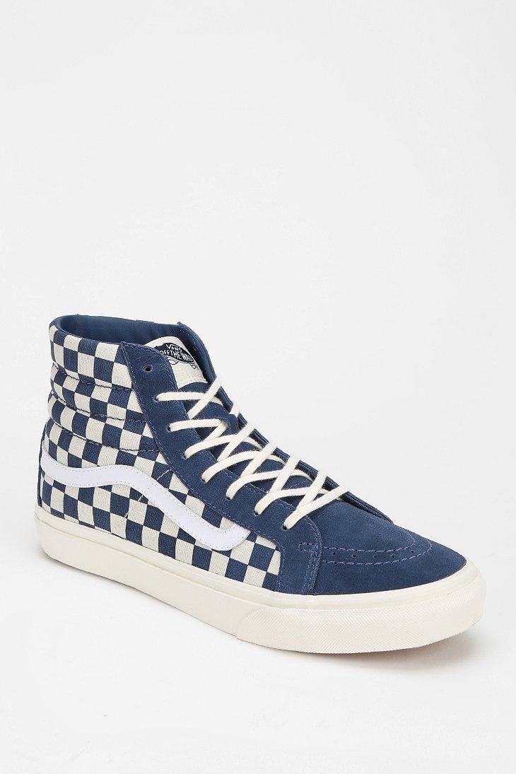 vans sk8 hi checkerboard blue