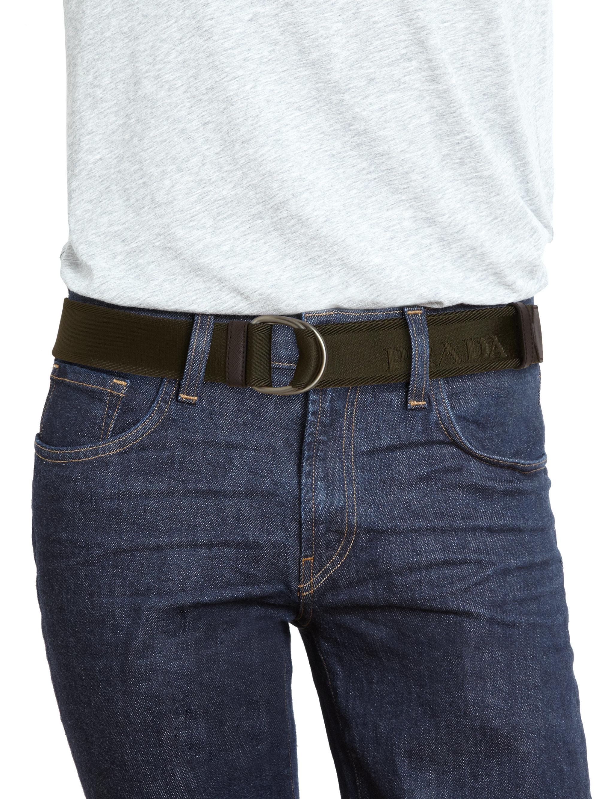 prada blue cloth belt