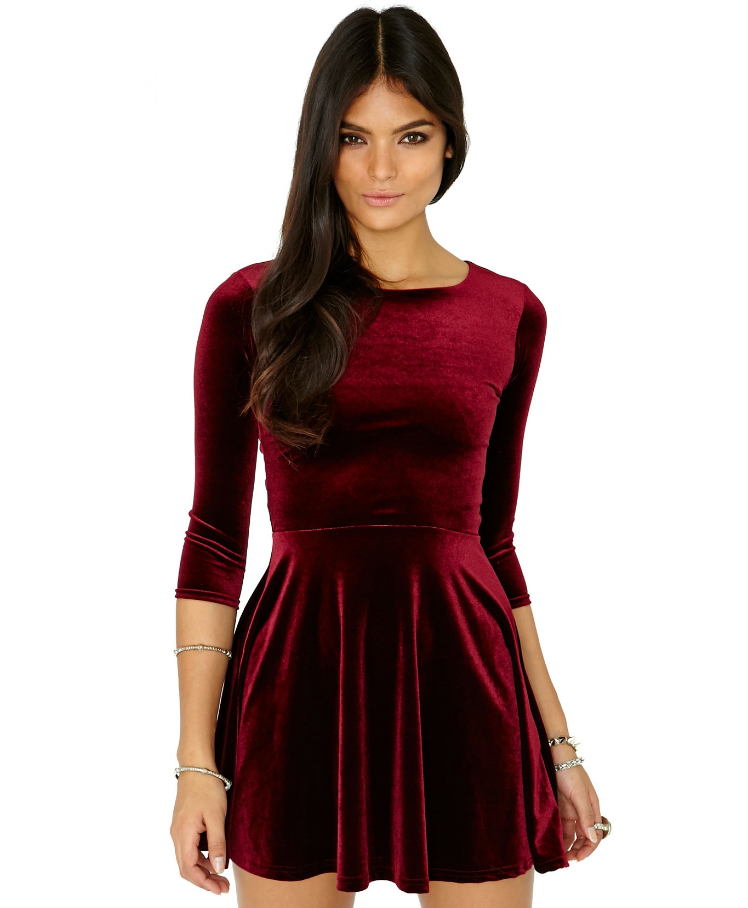 2f0dea2481 Lyst - Missguided Ofelita Velvet Skater Dress In Burgundy in Purple