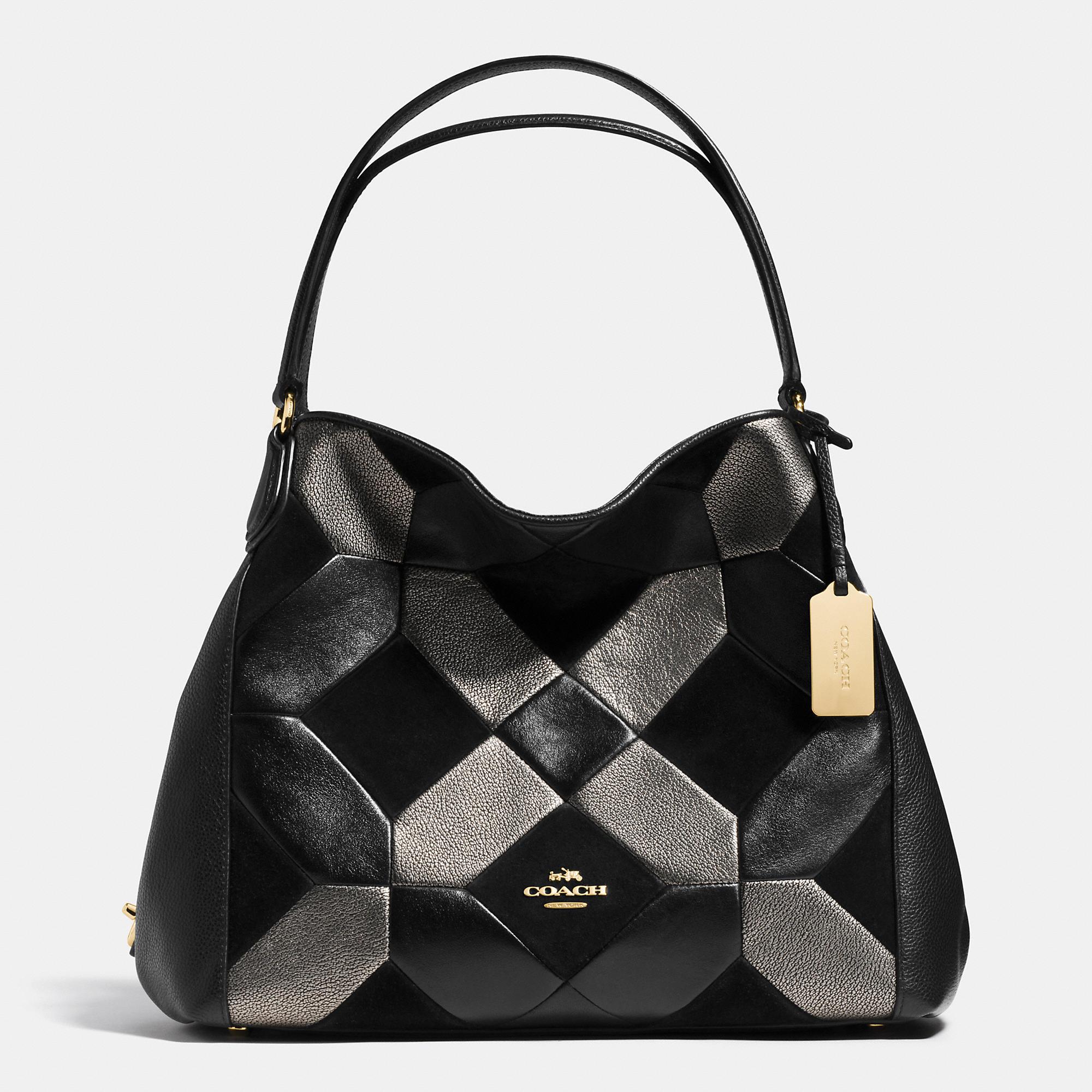 Coach Edie Shoulder Bag 31 In Patchwork Leather in Black | Lyst