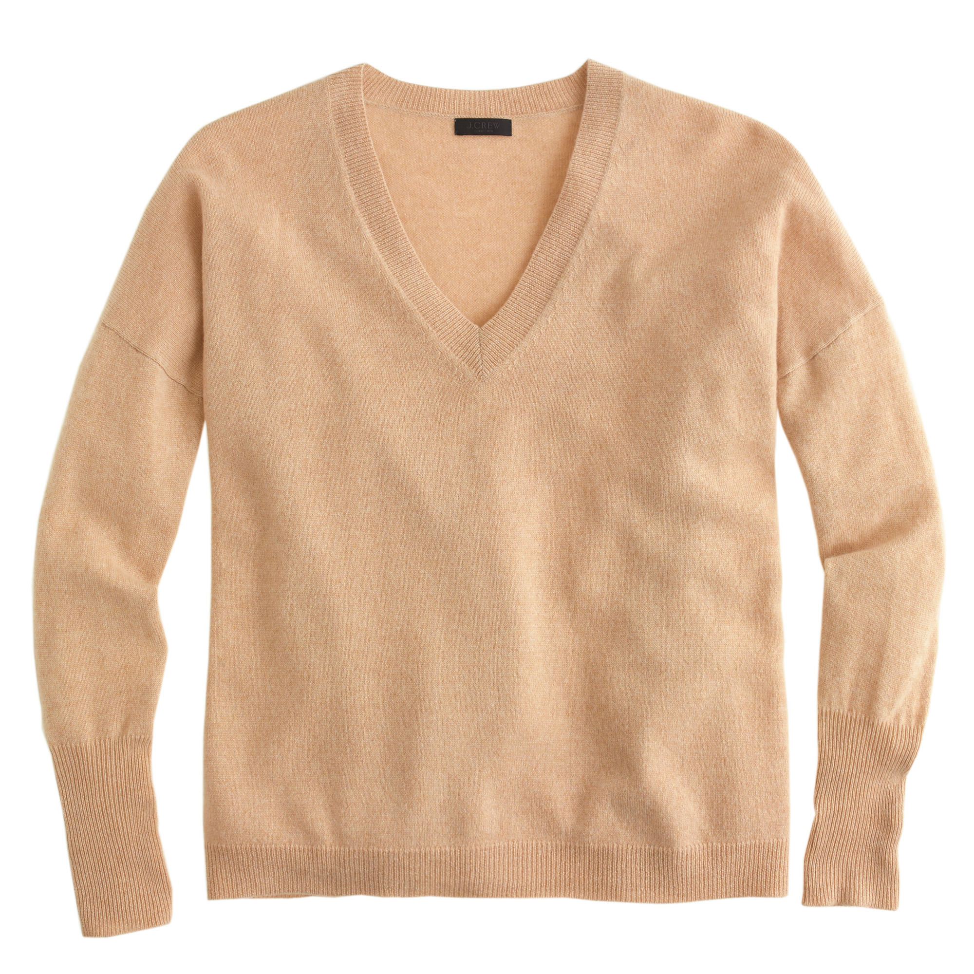 J.crew Collection Cashmere Boyfriend V-Neck Sweater in Natural | Lyst