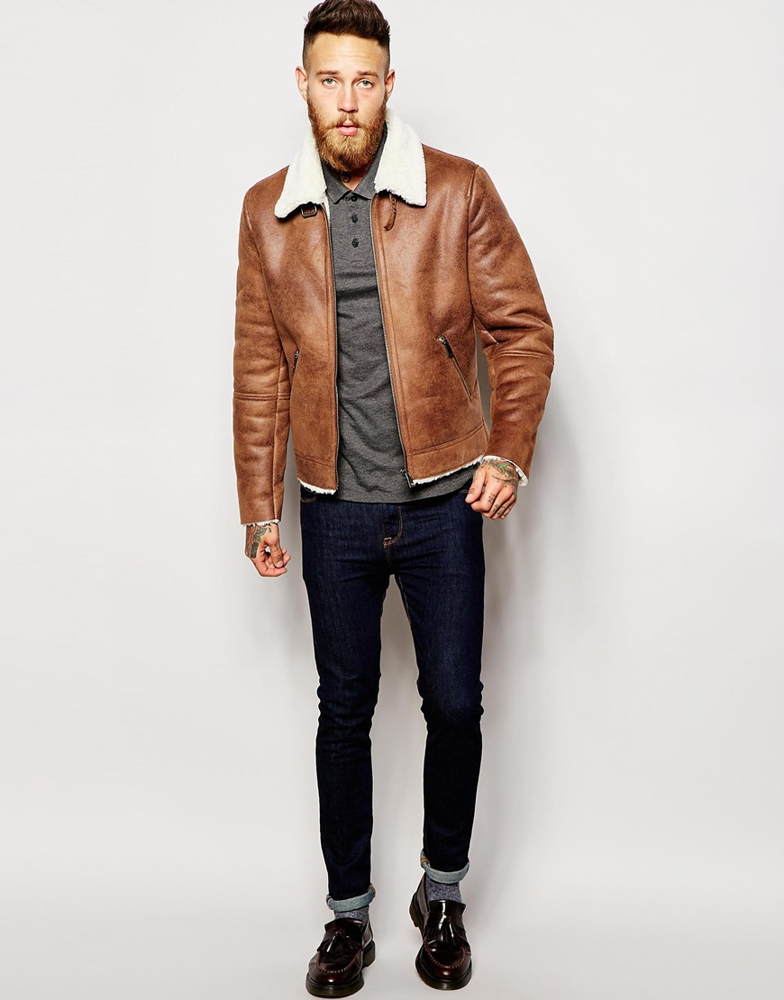 Asos Faux Shearling Jacket In Tan in Brown for Men | Lyst