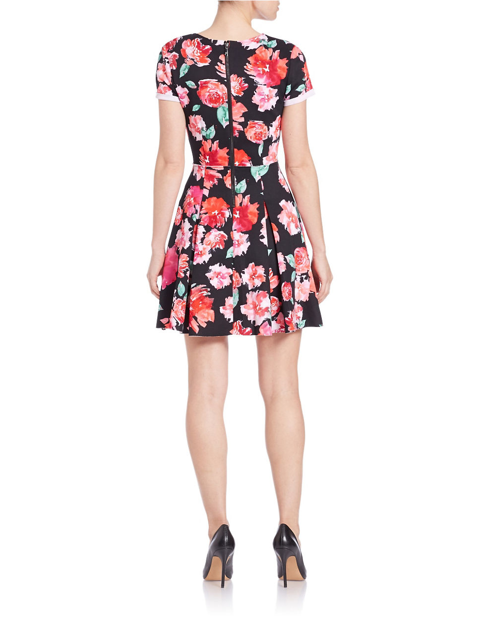 Guess Pleated Floral Fit And Flare Scuba Dress In Black Lyst