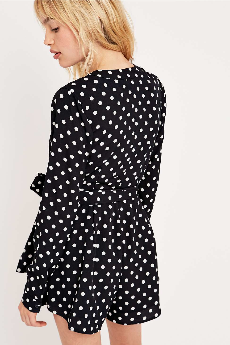 673abfcb722 The Fifth Label Long-sleeve Polka Dot Playsuit In Navy in Blue - Lyst