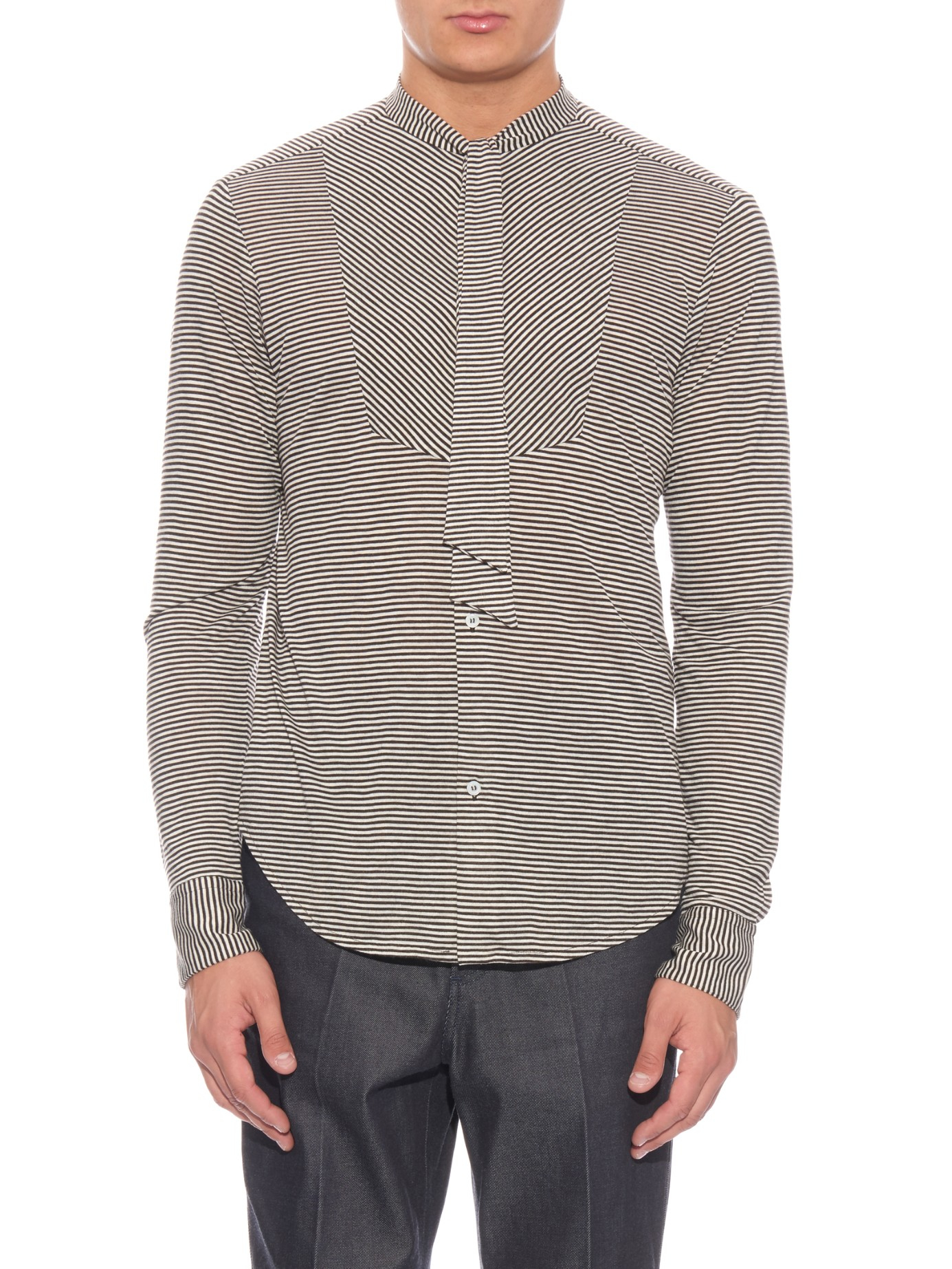 Lyst loewe striped neck tie jersey shirt in black for men for Striped shirt with tie