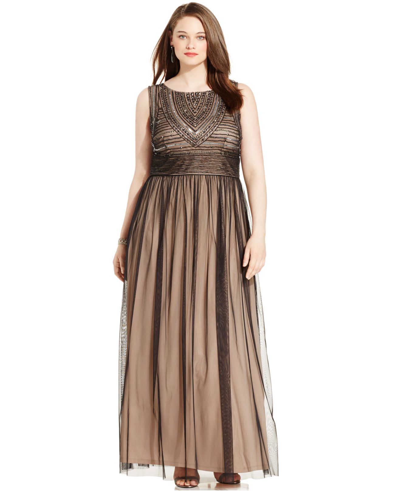 Adrianna papell Plus Size Embellished Gown in Brown | Lyst