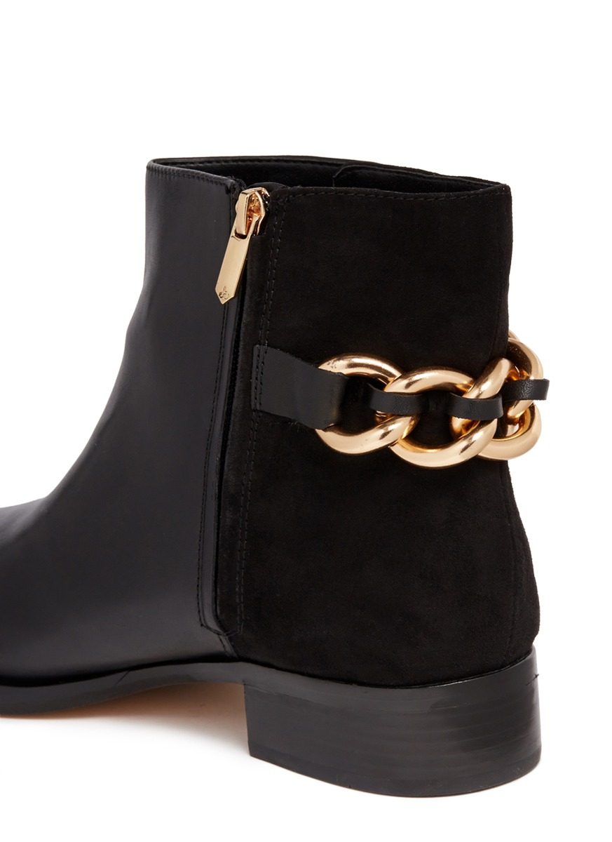 2237dc9c27380f Lyst - Sam Edelman  chester  Chain Leather And Suede Boots in Black