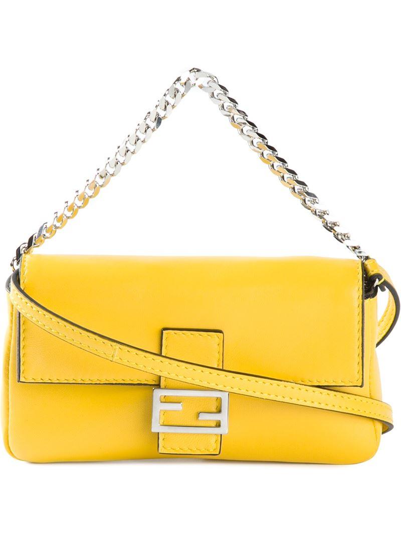e38448ac88ec ... free shipping fendi baguette micro calf leather shoulder bag in yellow  lyst c45d7 22541