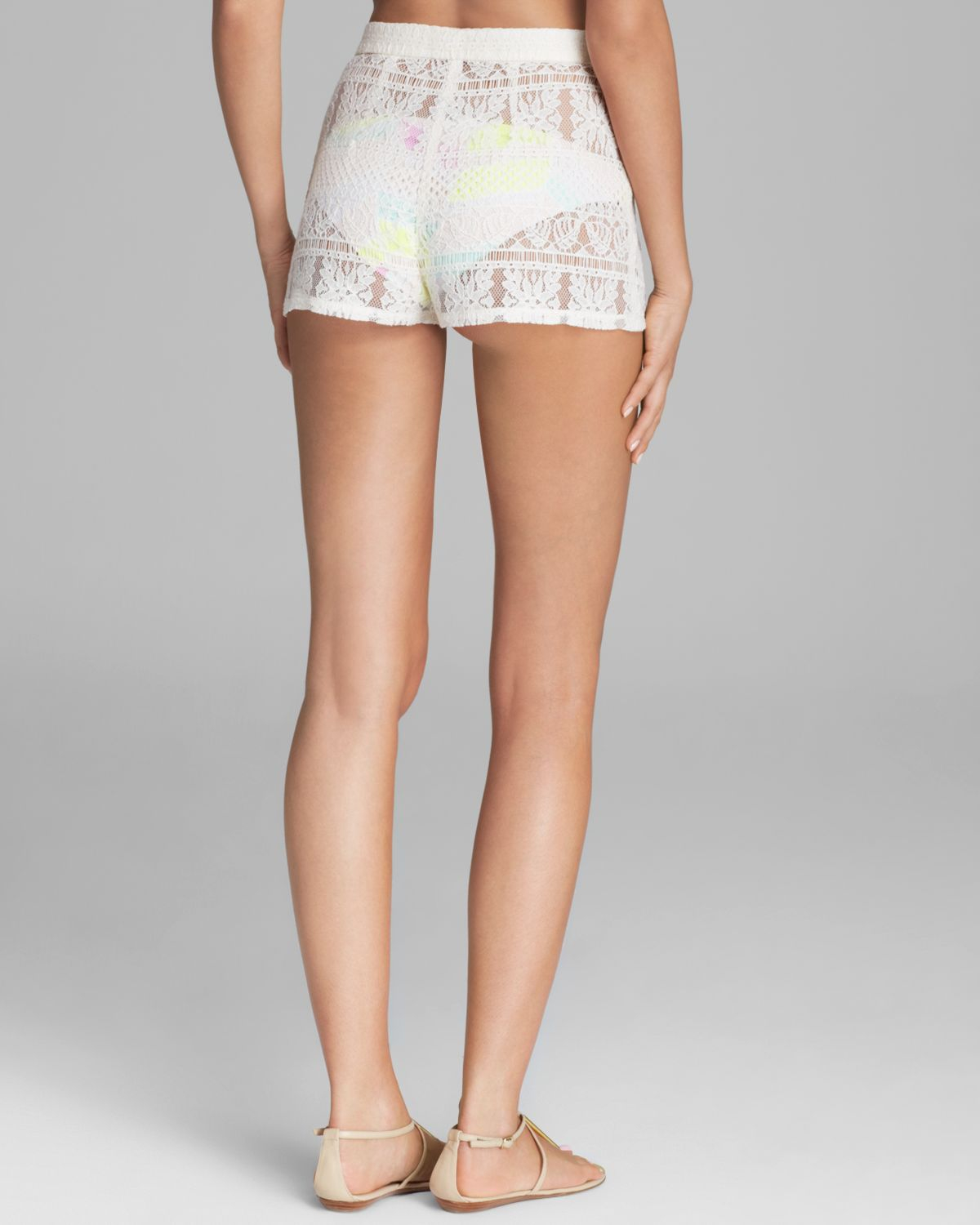 High Waisted White Lace Shorts