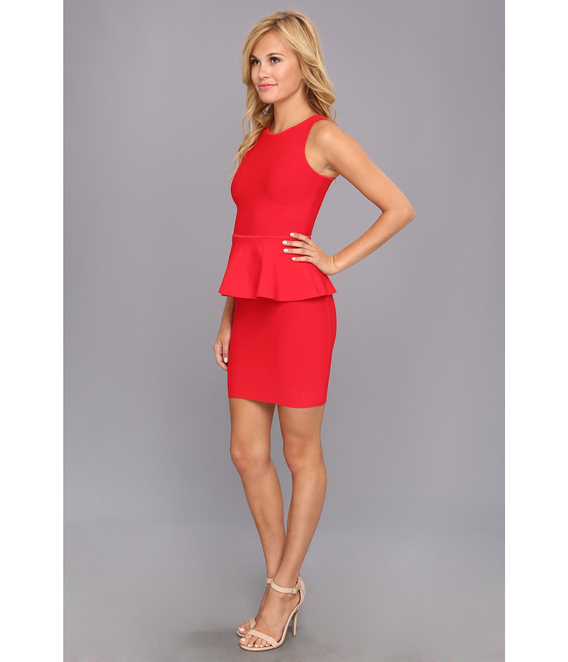 Lyst - Bcbgmaxazria Francis Peplum Dress in Red