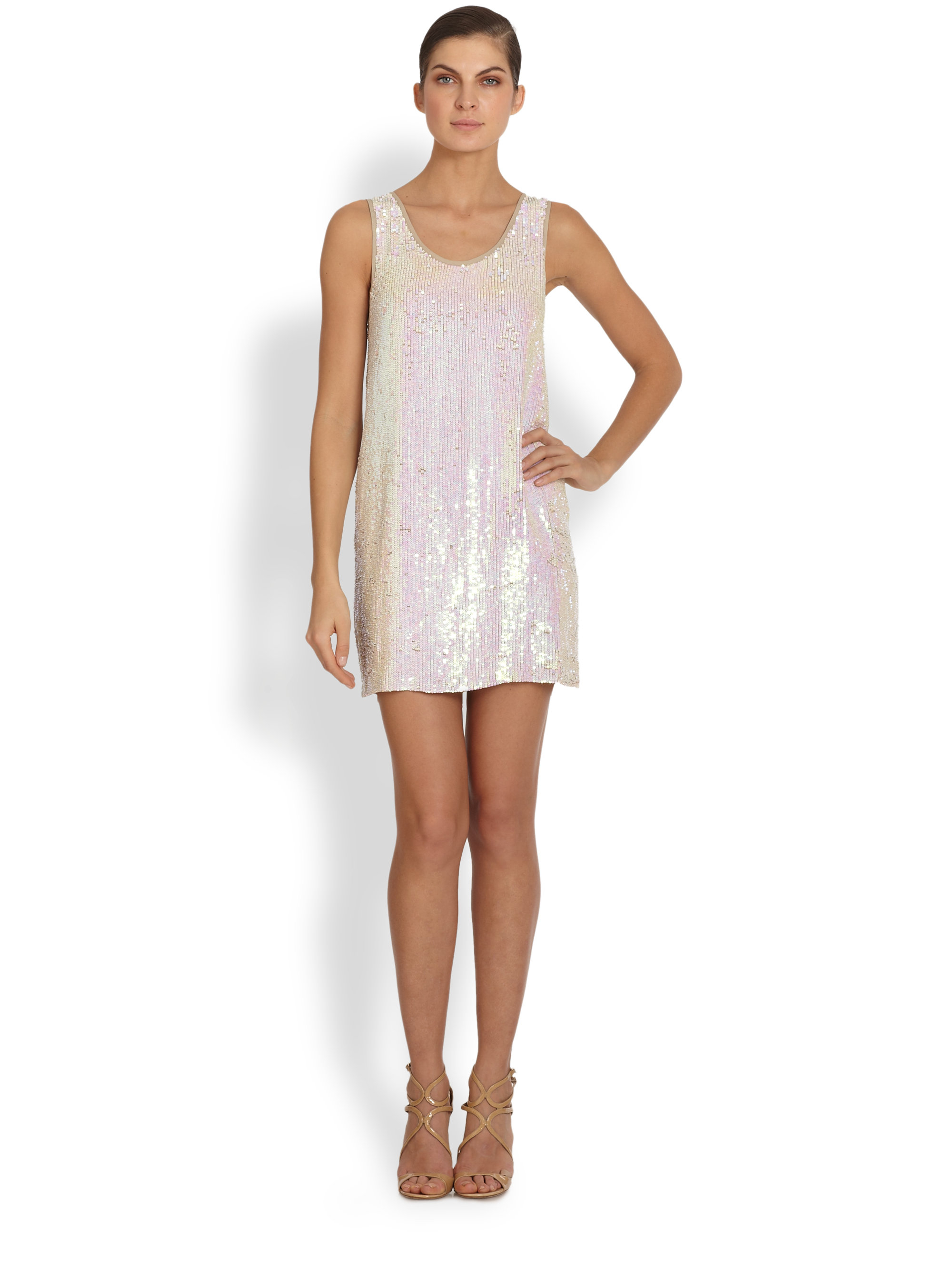 Nicole miller Sequin Silk Shift Dress in Pink - Lyst