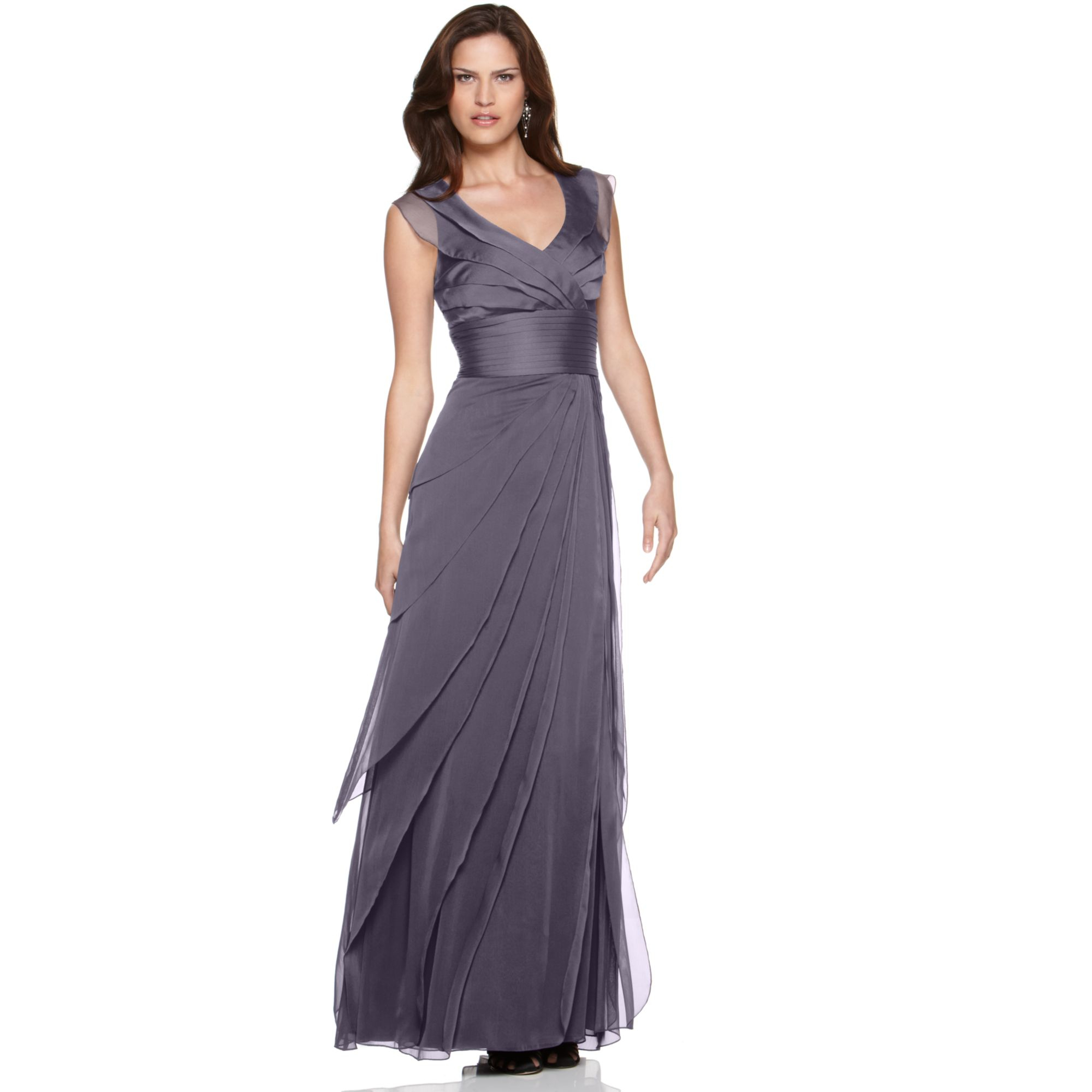 Grey Dress: Adrianna Papell Tiered Evening Dress In Gray (grey)