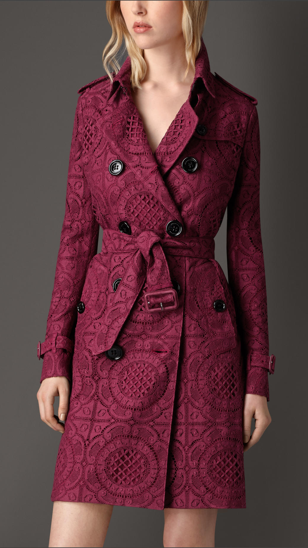 Burberry English Lace Trench Coat In Purple Cherry Pink