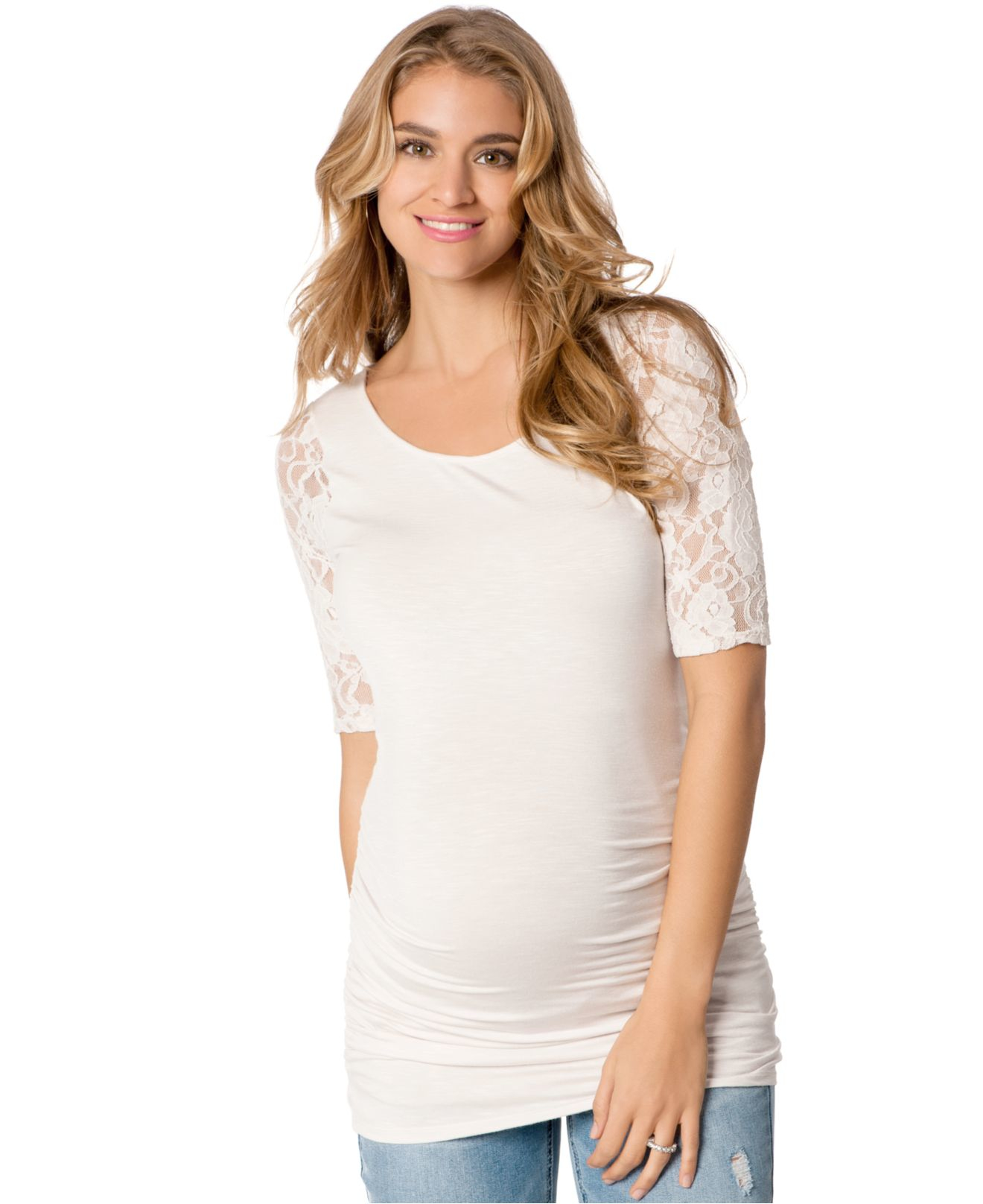 Jessica simpson maternity lace trim ruched top in white lyst gallery ombrellifo Gallery