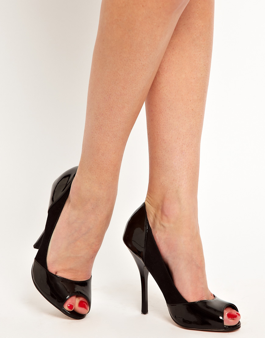 Asos collection Peachey High Heels with Peep Toe in Black | Lyst