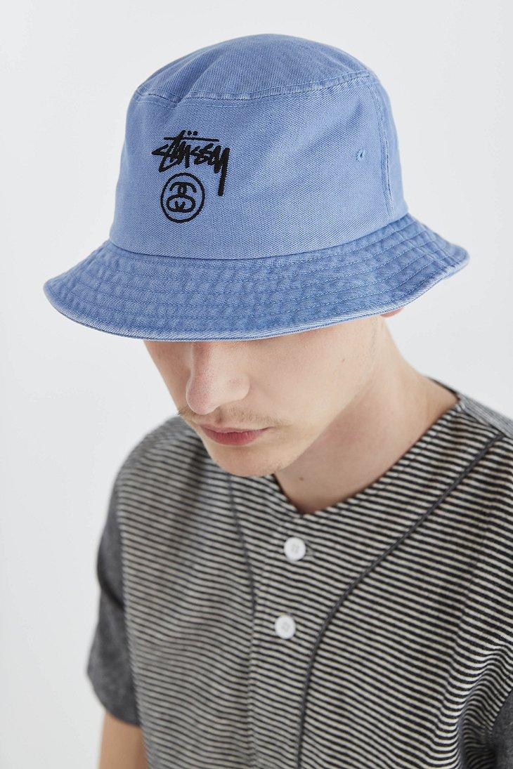 0cb54846 Stussy Stock Lock Denim Bucket Hat in Blue for Men - Lyst