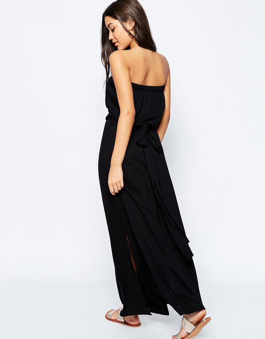 Asos Bandeau Maxi Dress With Tie Waist In Black Lyst