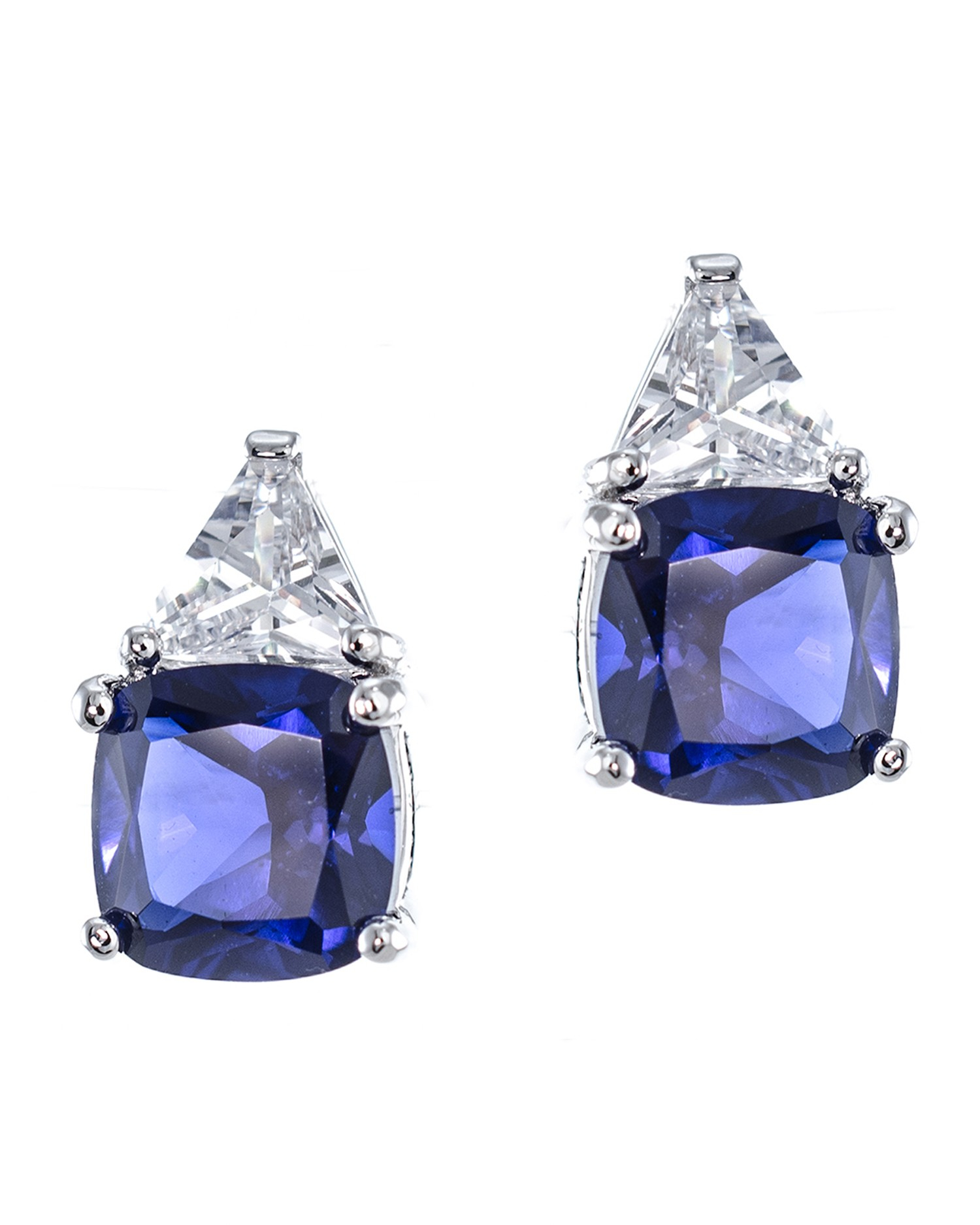 Kenneth jay lane Sapphire Cushion And Trillion Cut Earrings in Blue sapphire