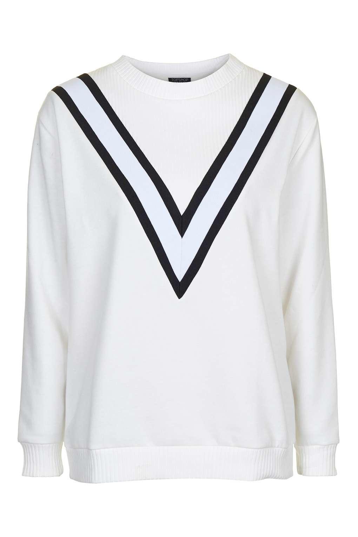 9714a2de7de In Topshop Block Sporty Lyst White Sweatshirt Colour OH1xI
