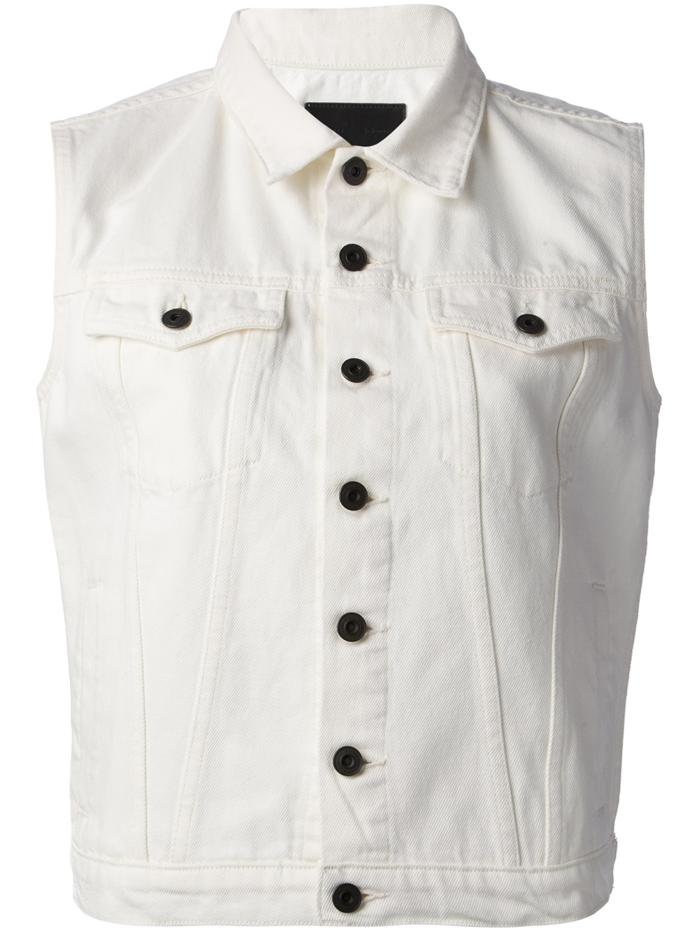 11a8f7b522dc7d Lyst - Proenza Schouler Sleeveless Denim Jacket in White