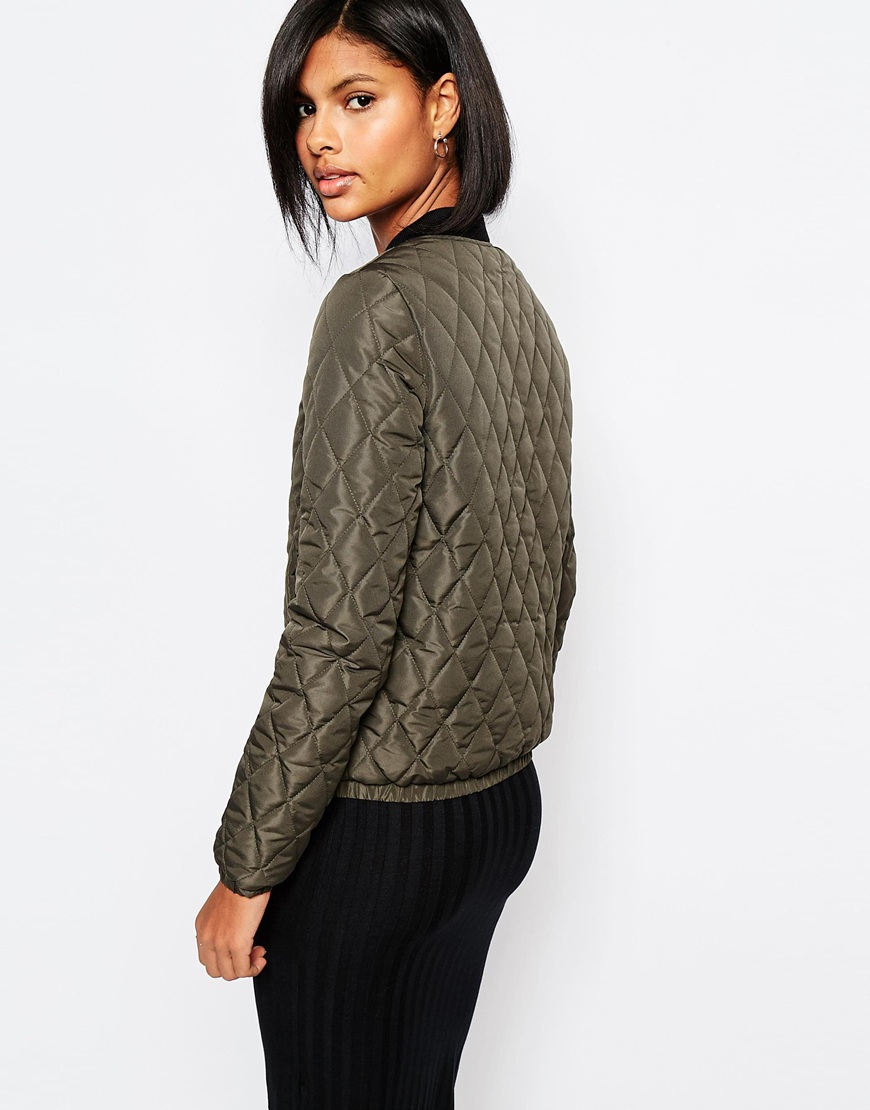 vero moda quilted bomber jacket in gray lyst. Black Bedroom Furniture Sets. Home Design Ideas