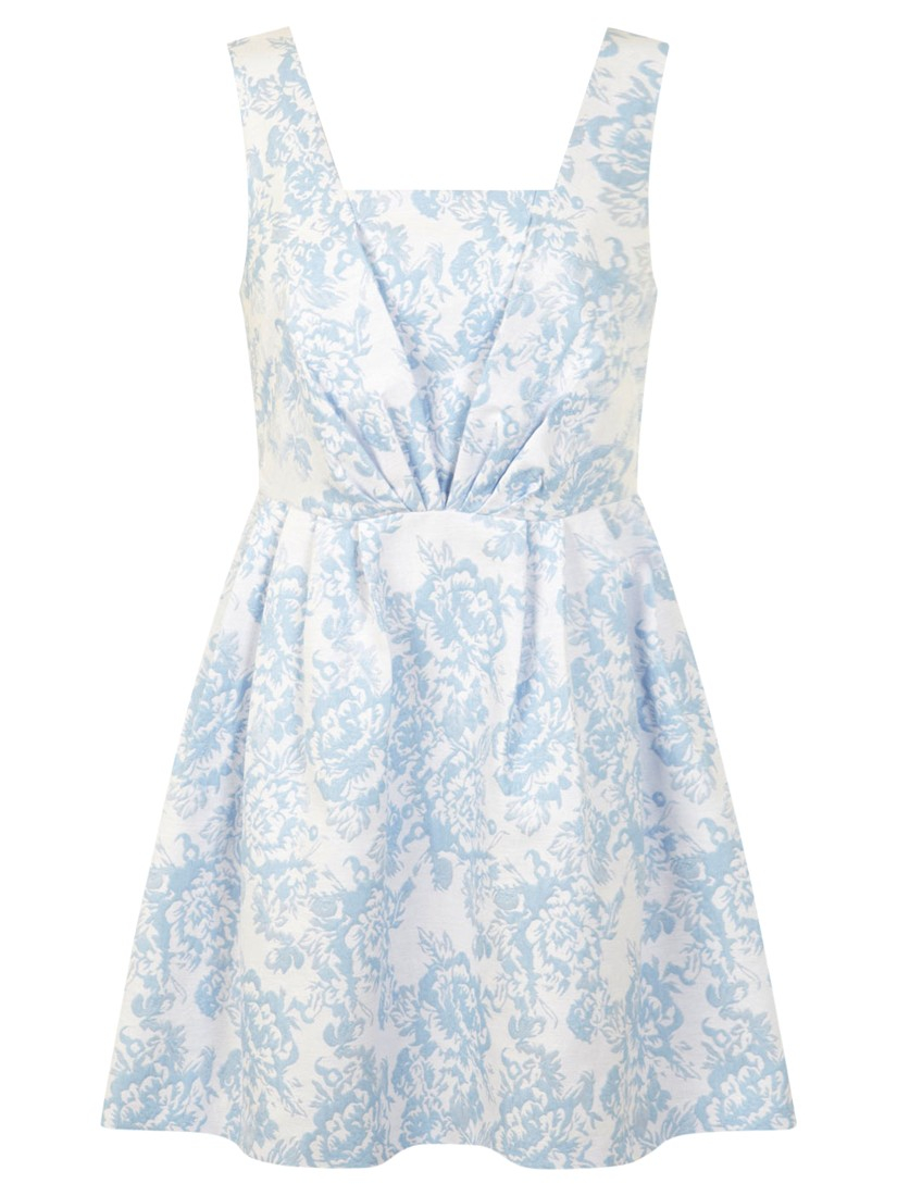 Miss Selfridge Petite Jacquard Prom Dress In Blue Lyst