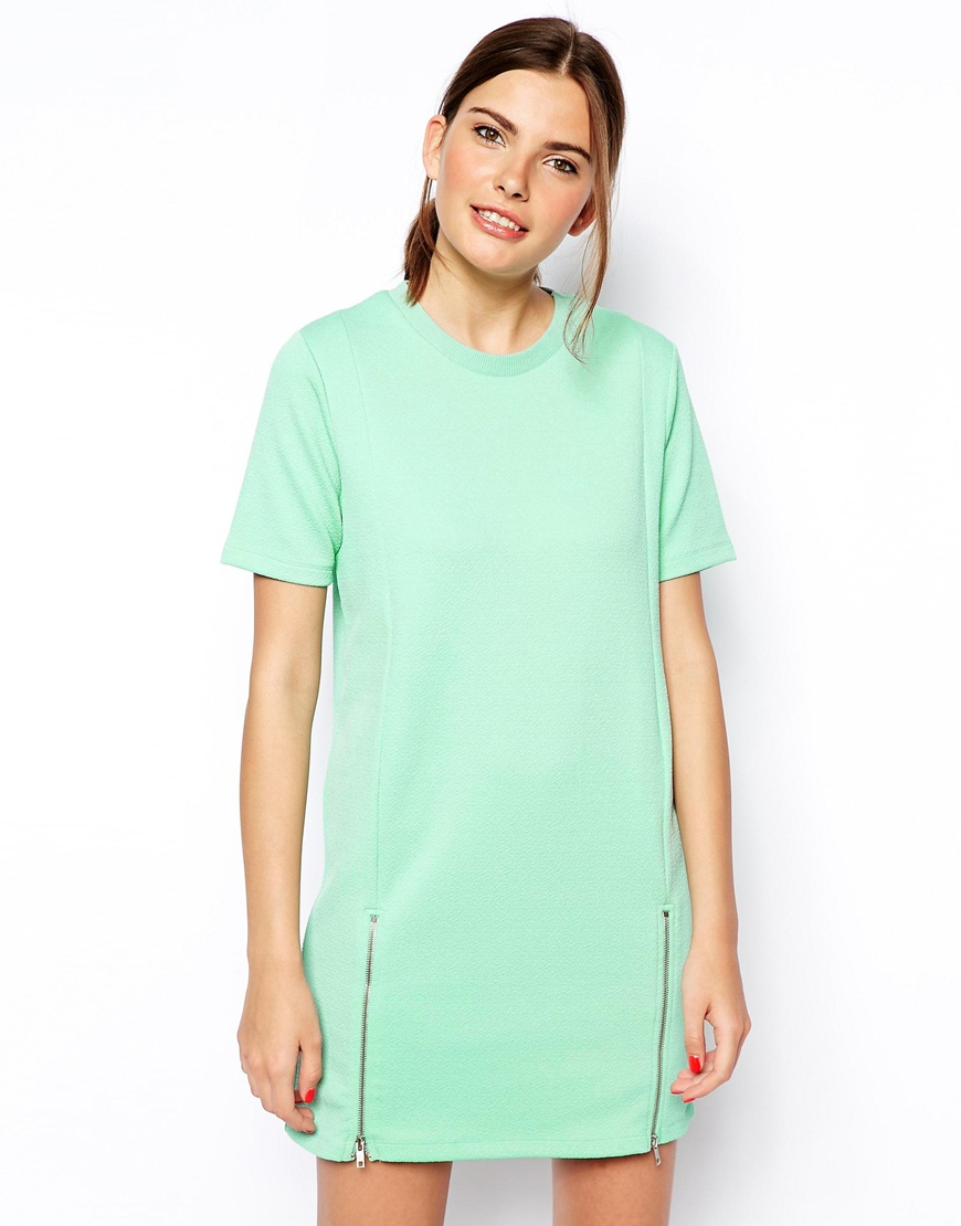 Asos t shirt dress with zip front detail in green lyst for Zip up dress shirt