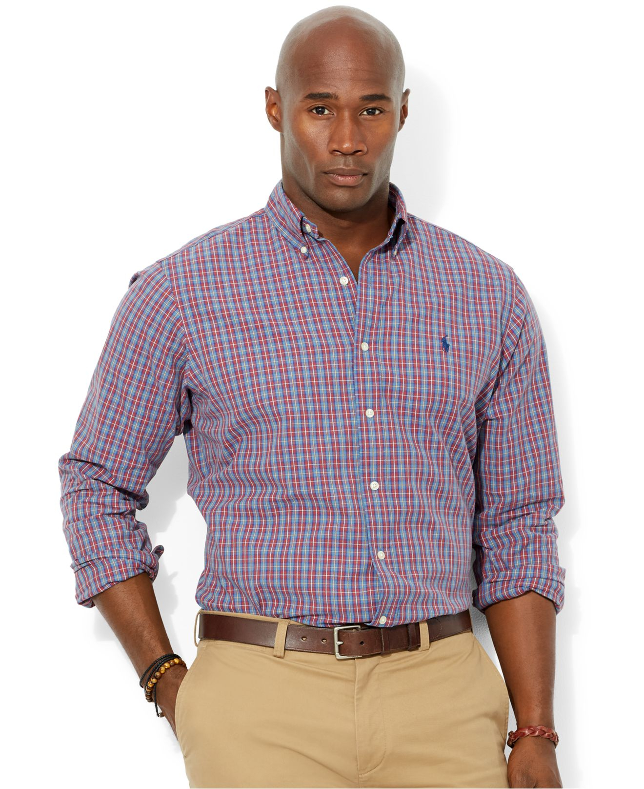 Polo ralph lauren big and tall long sleeve plaid oxford for Big and tall long sleeve shirts