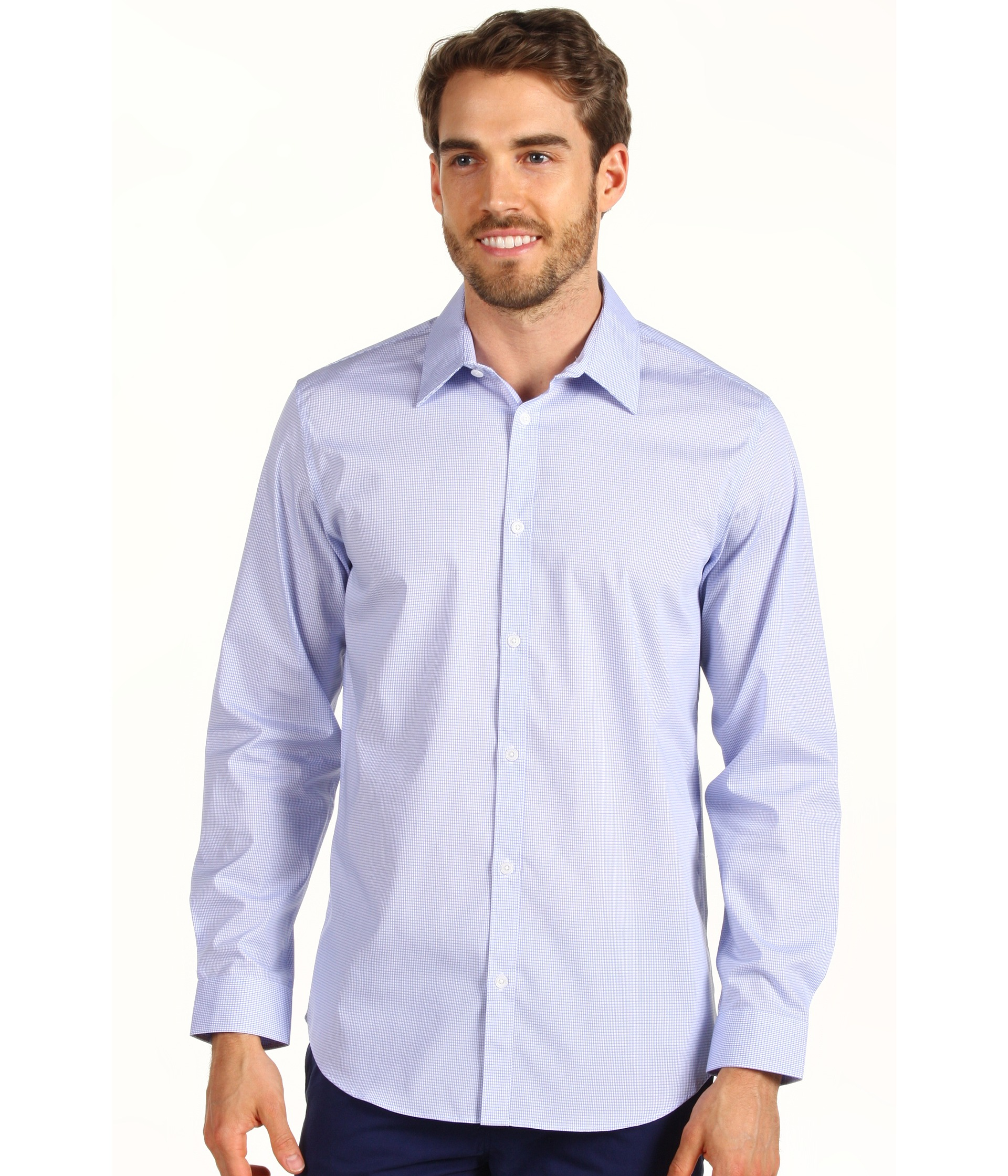 Calvin klein long sleeve infinite cool button down mini for Cool long sleeve button up shirts