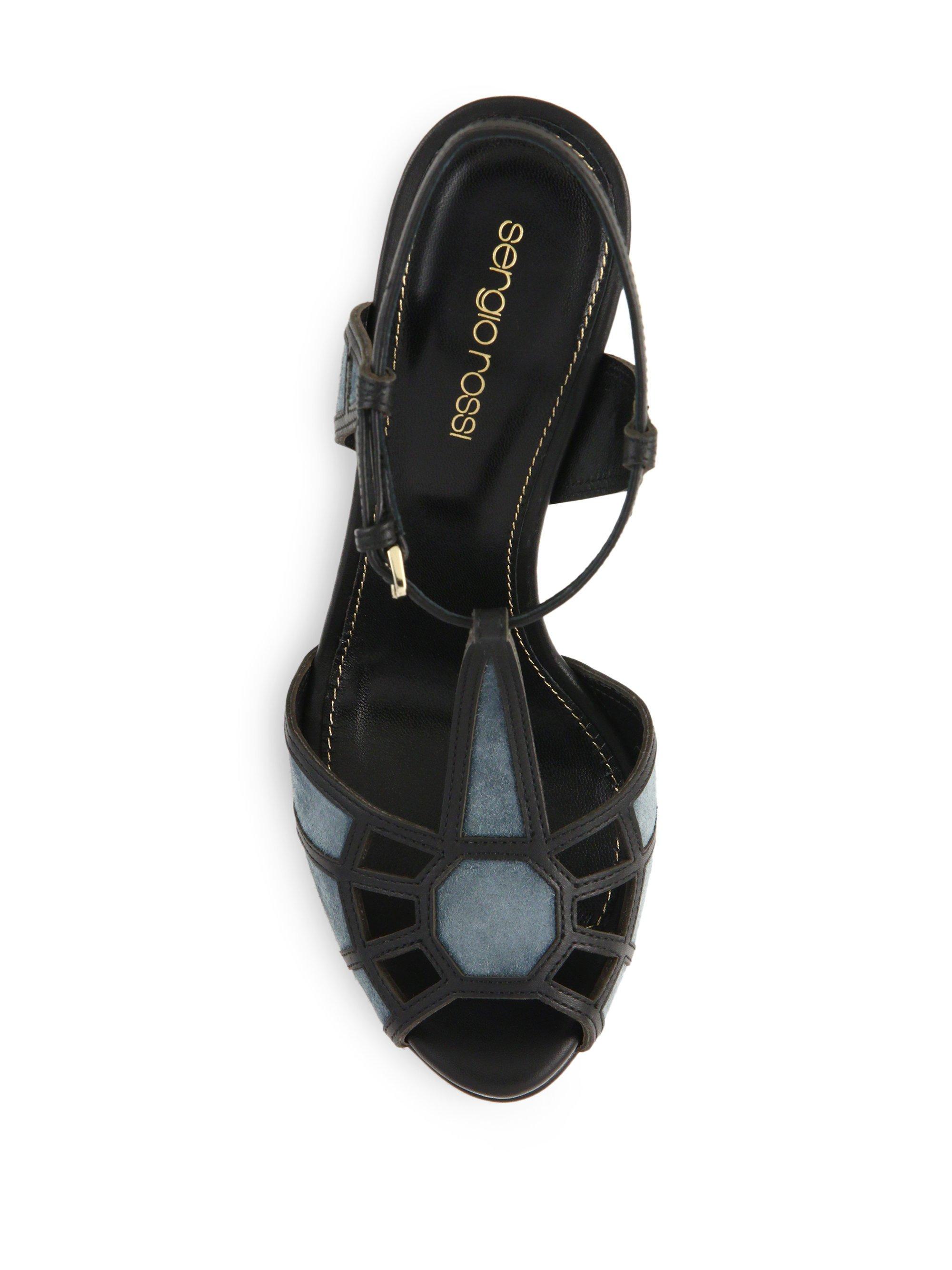 f4c87625c09 Lyst - Sergio Rossi Puzzle Suede   Leather Platform Sandals in Blue