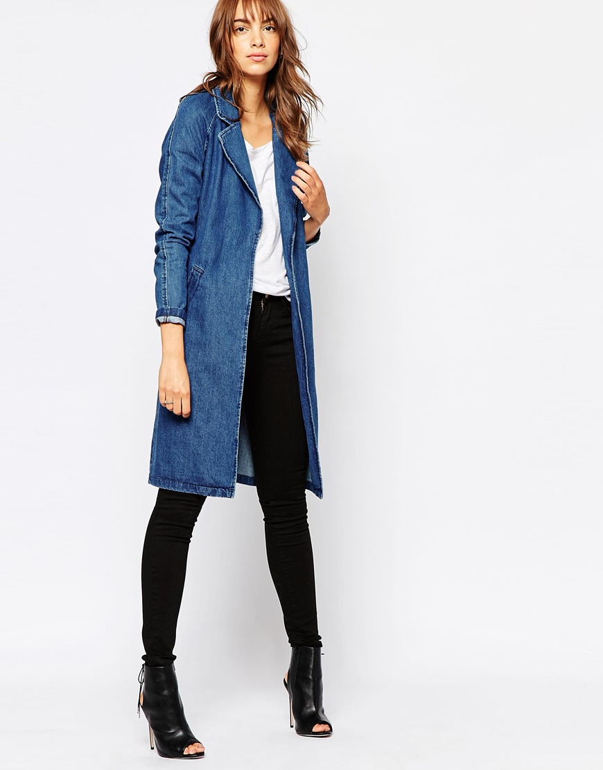 vero moda belted denim duster coat in blue lyst. Black Bedroom Furniture Sets. Home Design Ideas