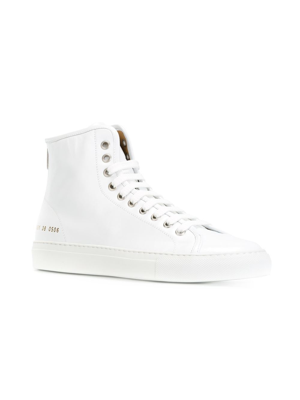 common projects leather high top sneakers in white lyst. Black Bedroom Furniture Sets. Home Design Ideas