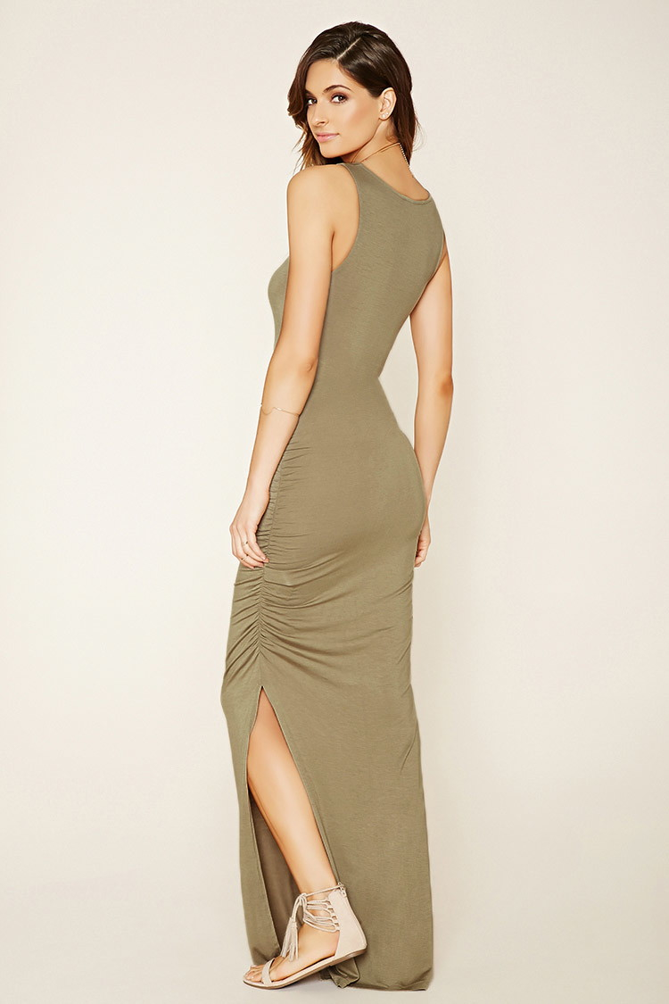 f6db460b9603 Lyst - Forever 21 Contemporary Ruched Maxi Dress in Gray