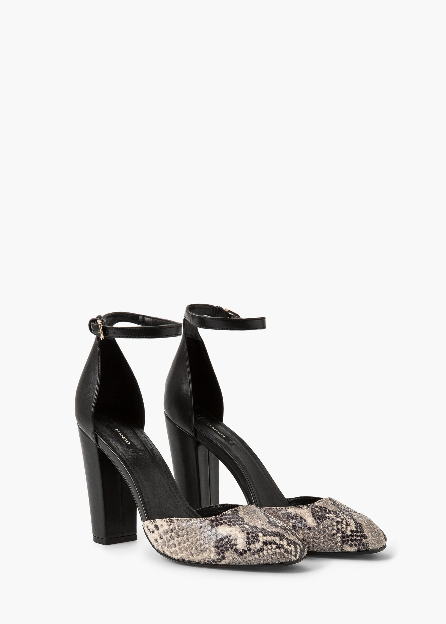 mango leather ankle cuff shoes in black lyst