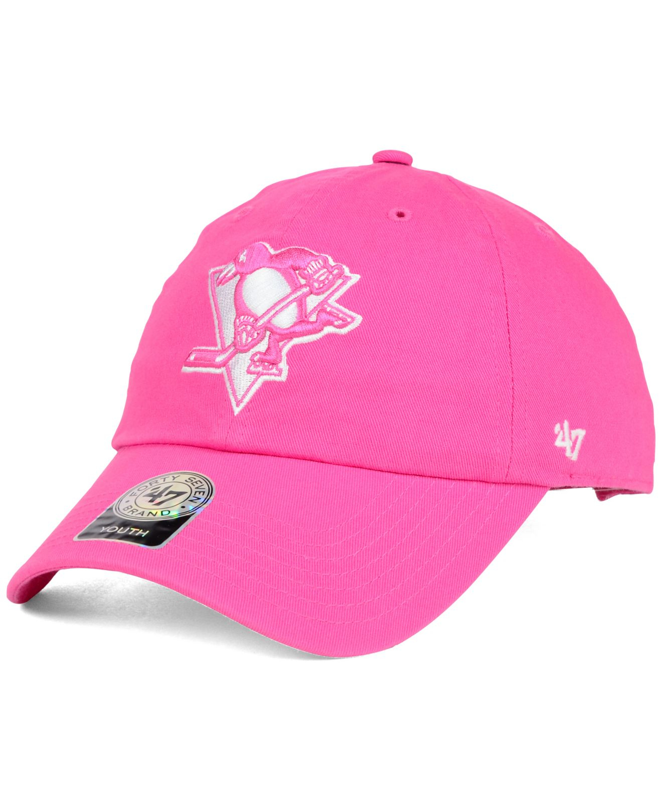 5339d3472d700e ... new zealand lyst 47 brand girls pittsburgh penguins clean up cap in  pink for men 401b6