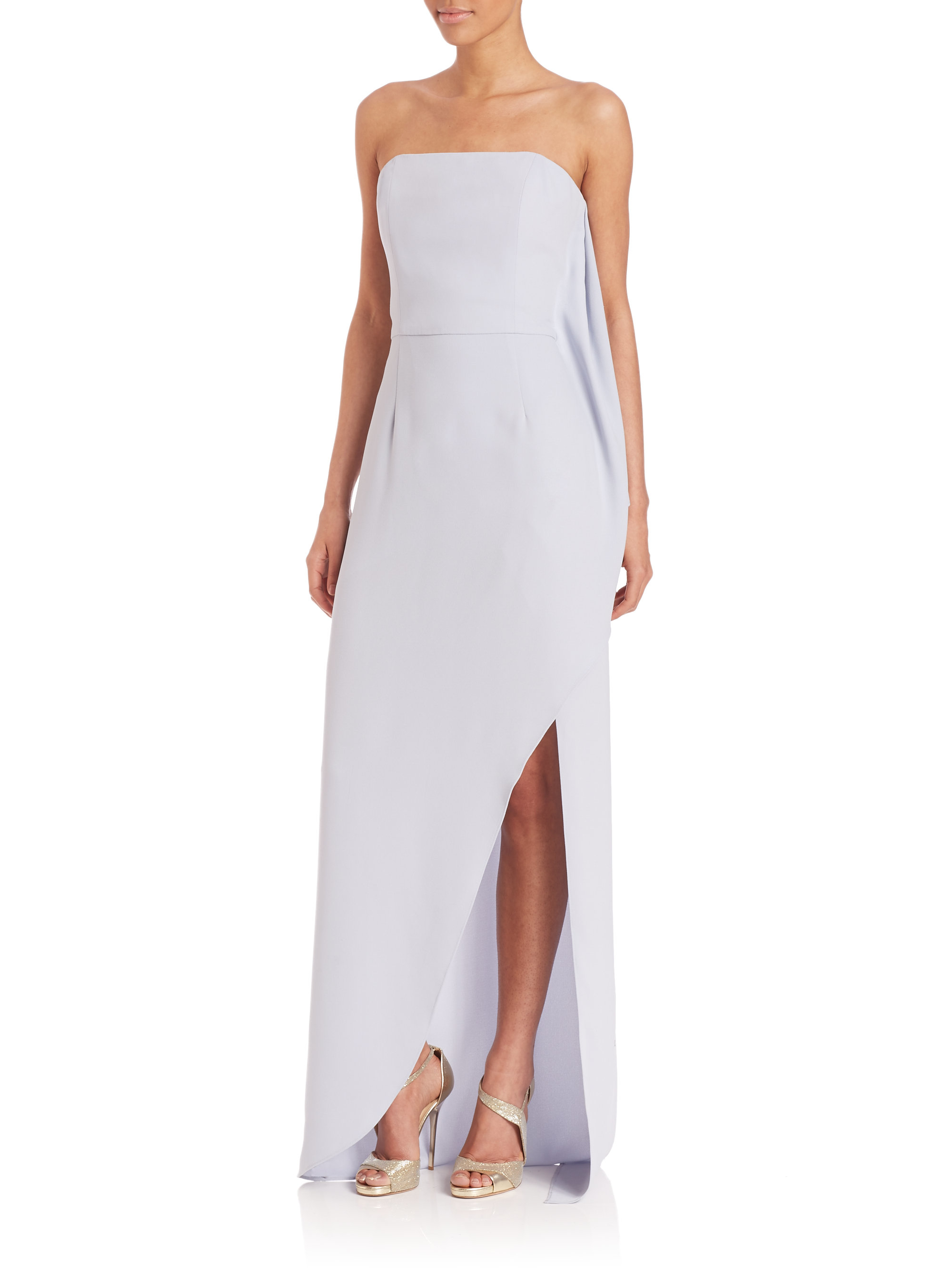 Lyst - Halston Strapless Crepe Gown in Metallic
