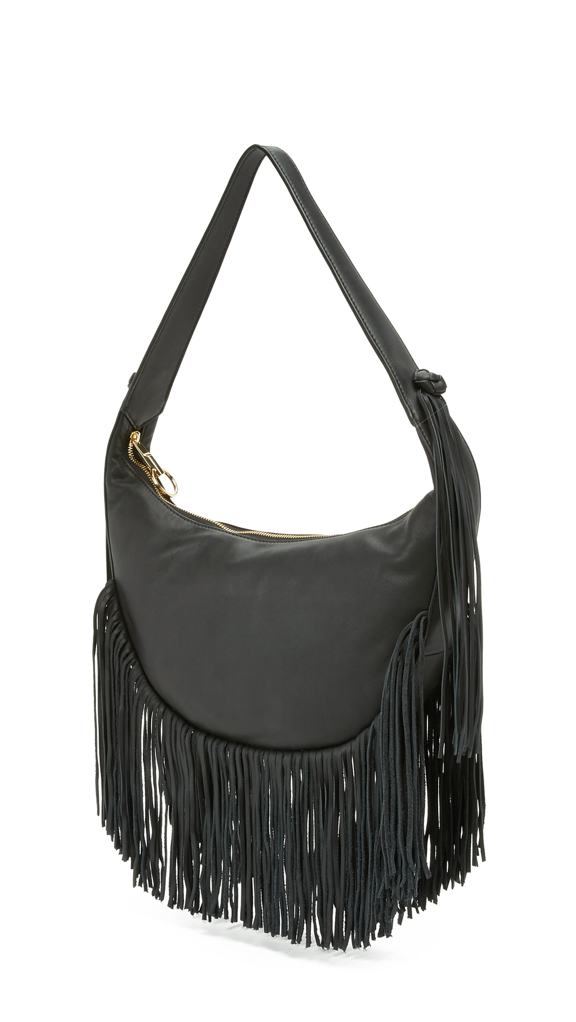 Elizabeth and james Zoe Fringe Hobo Bag in Black | Lyst