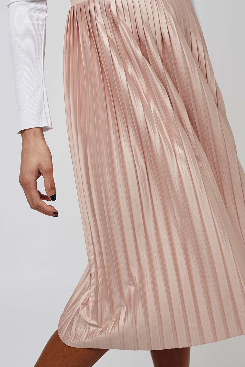 6007fce9c33 Lyst - TOPSHOP Jersey Pleated Midi Skirt in Pink