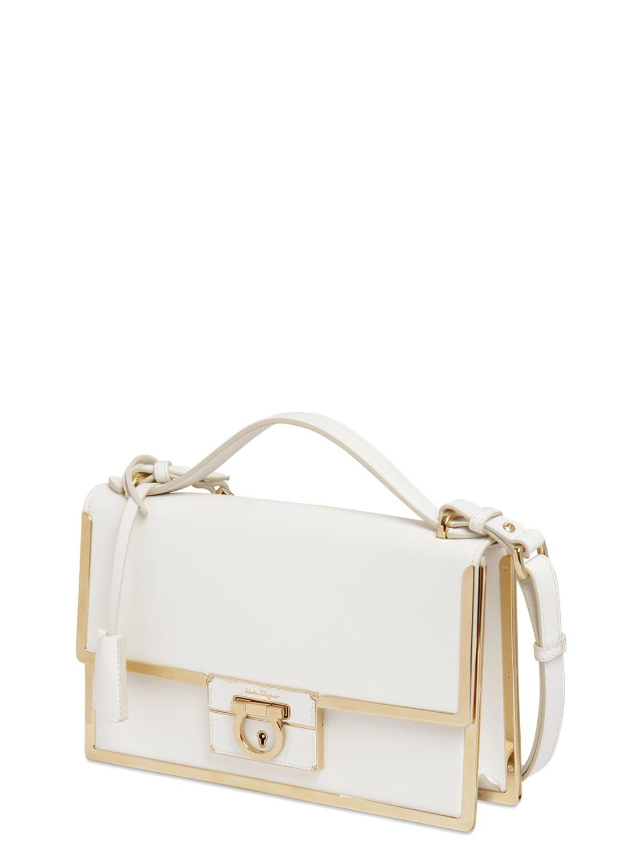 Lyst - Ferragamo Aileen Metal Frame Leather Bag in White