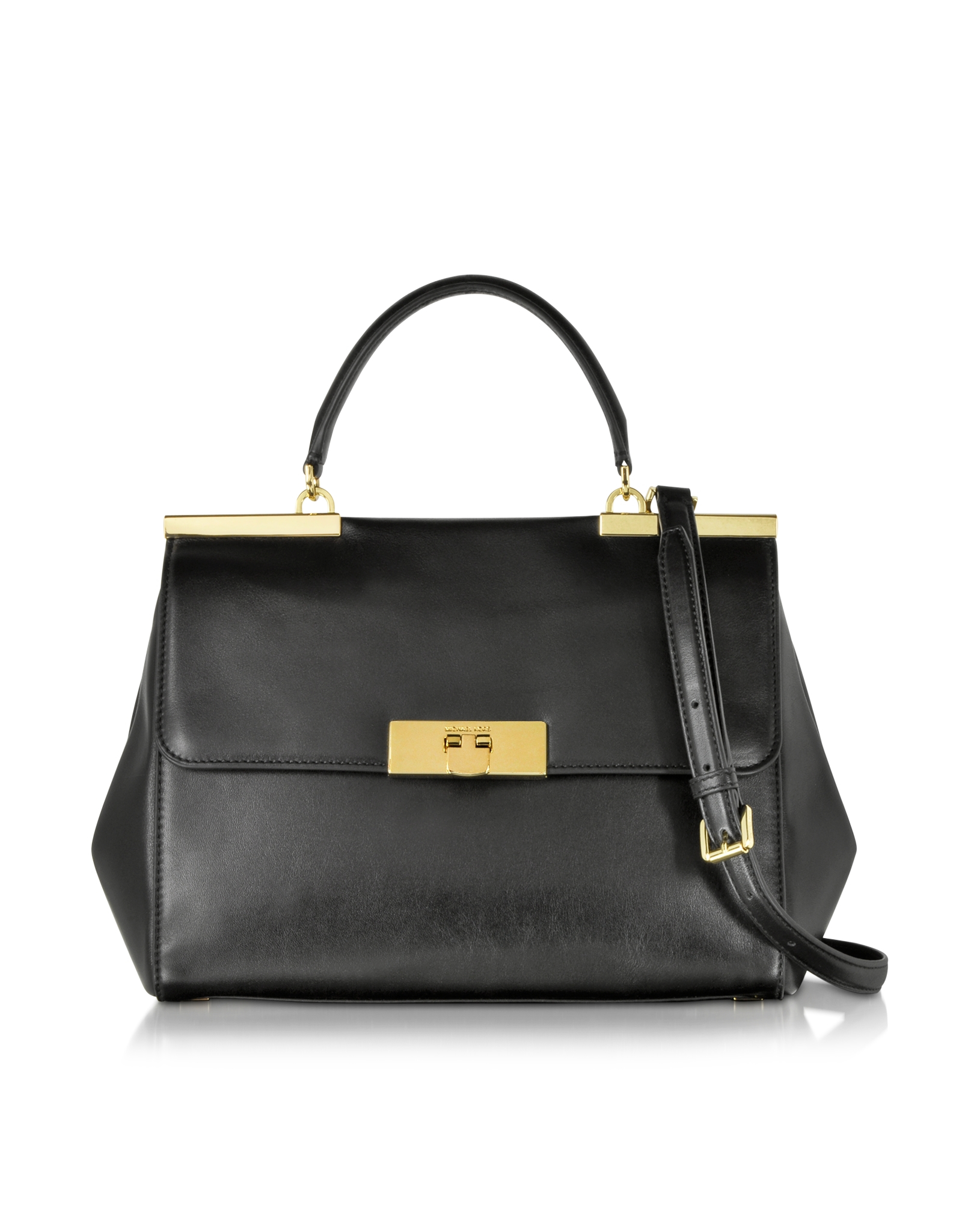 da9ce4135407 Michael Kors Marlow Large Leather Satchel Bag in Black - Lyst