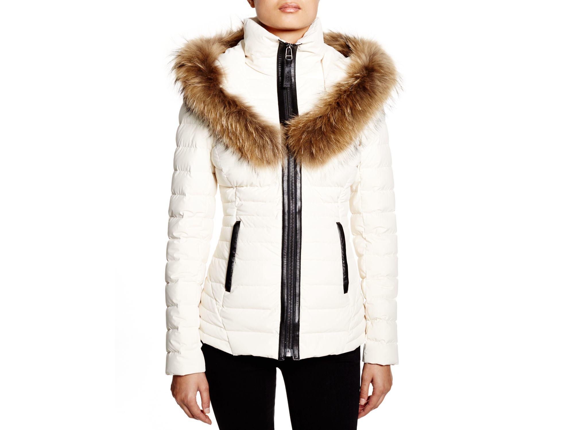 Mackage Adalina Jacket With Raccoon Fur Trim in White | Lyst