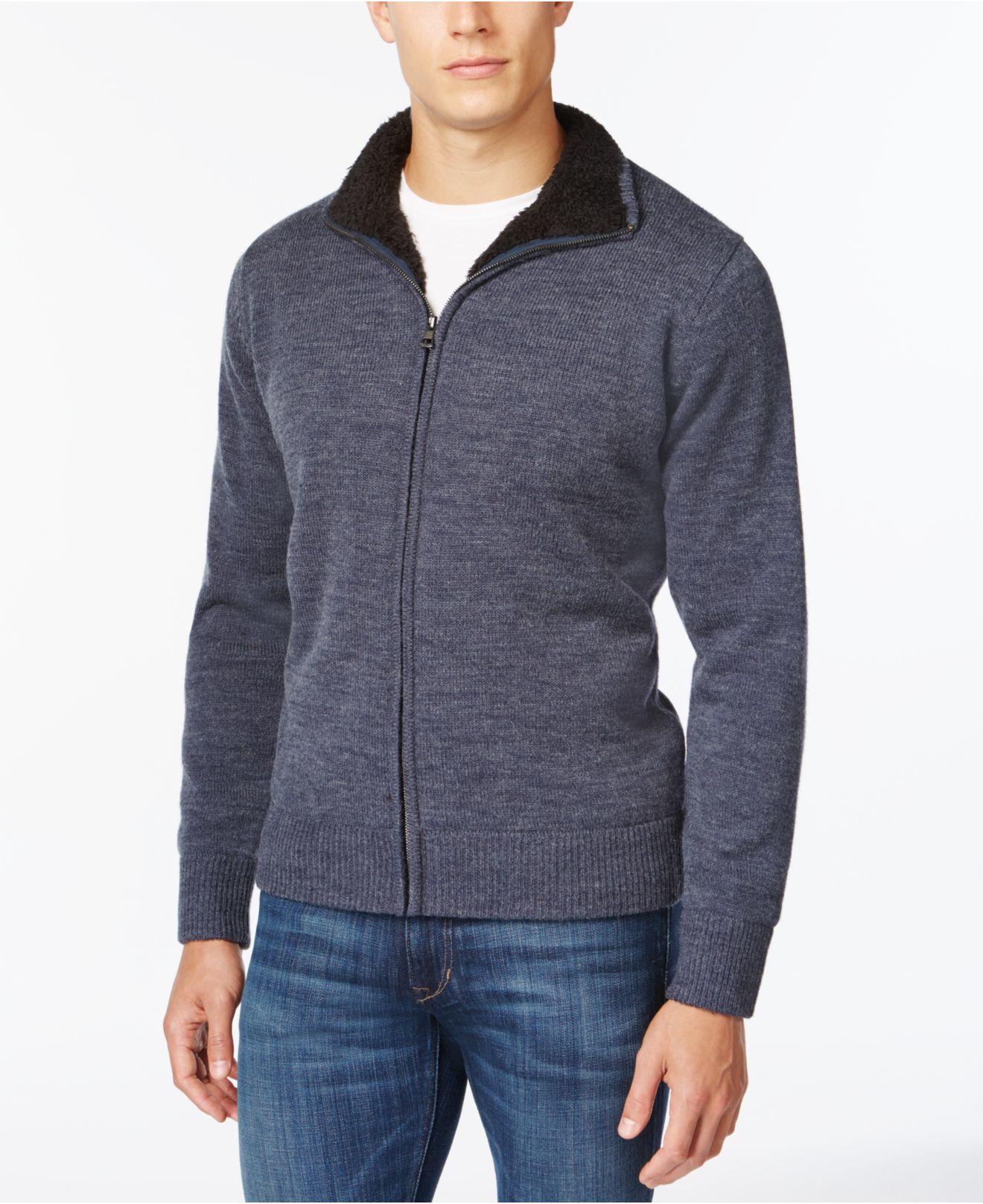 Lyst weatherproof vintage sherpa lined sweater jacket in for Weatherproof vintage men s lightweight flannel shirt