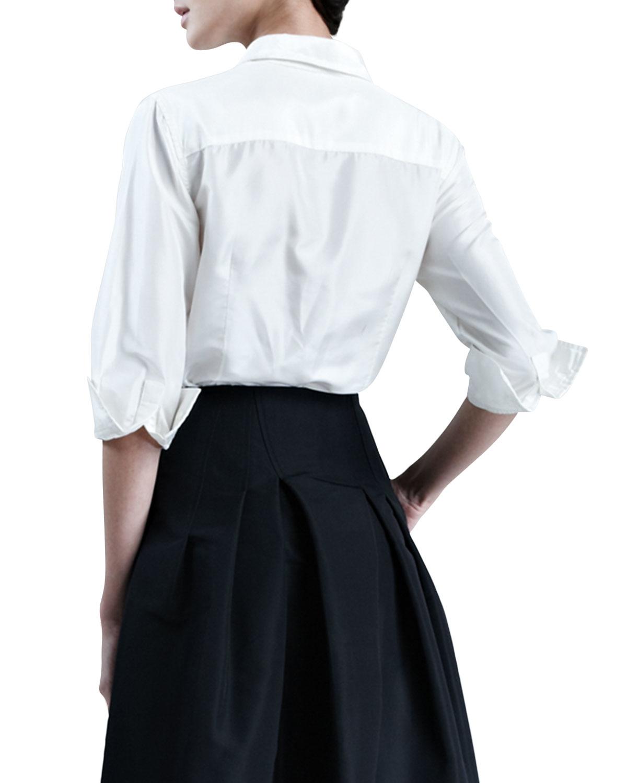 d6bf8834a1d60 Lyst - Carolina Herrera Silk Taffeta Shirt in White