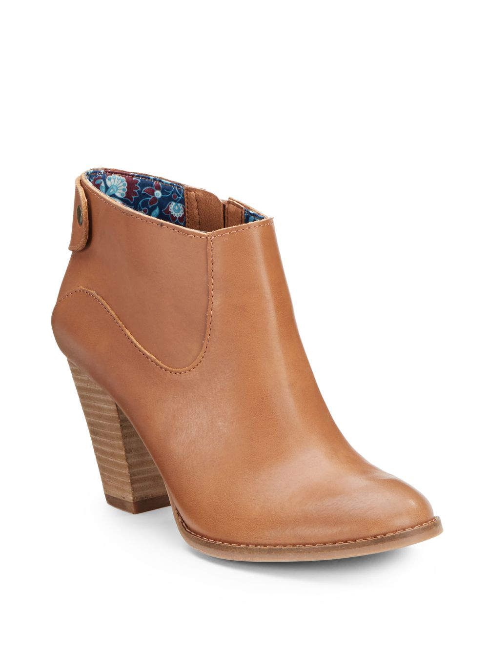 lucky brand ubiza leather ankle boots in brown camel lyst