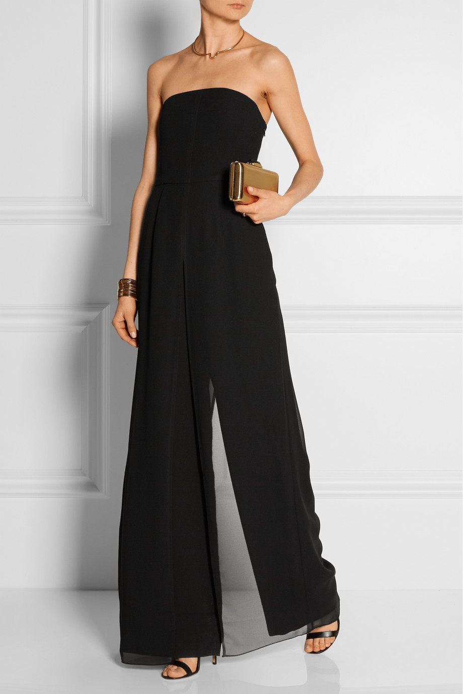 1161a51a2ff Lyst - Halston Strapless Chiffon-Trimmed Crepe Jumpsuit in Black