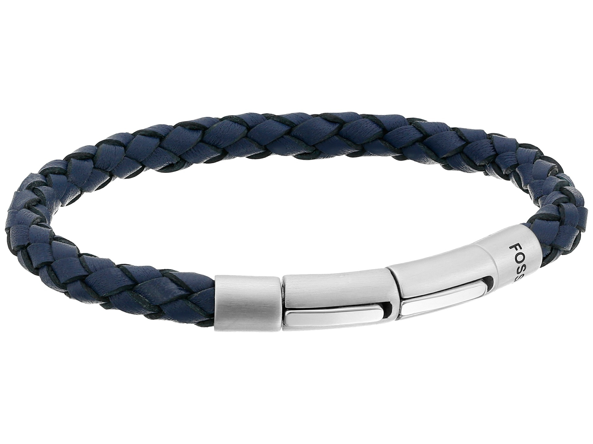 Lyst Fossil Braided Leather Bracelet In Metallic For Men